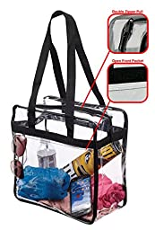 """NFL & PGA Compliant Clear Stadium Security Zippered Shoulder Bag Travel & Gym Tote By Bags For Less – Sturdy PVC Construction– 12"""" X 12"""" X 6""""G – Color Fabric Trim & Long Handles"""