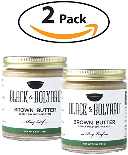 Black & Bolyard Bay Leaf Brown Butter - Non-GMO, Sugar-free, Grass-fed Butter - Caramelized & Seasoned with Sea Salt, Bay Leaves - Gluten Free Ghee Butter/Clarified Butter Alternative - 2 x 5.5 - Black Coffee Cow