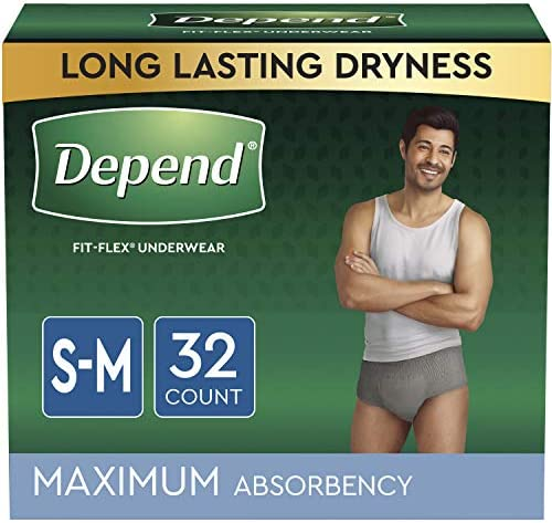 Depend FIT-FLEX Incontinence Underwear for Men, Grey Small/Medium, 32 Count