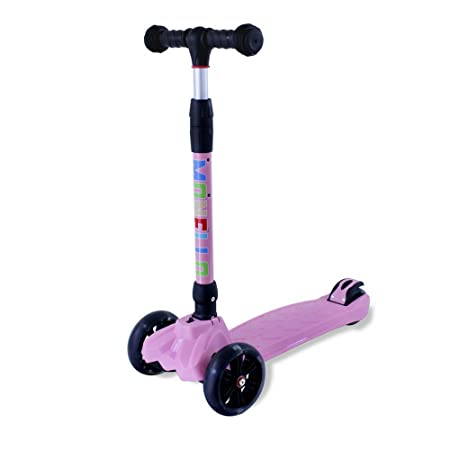 Monello Kick Scooters for Kids 3 Wheel Lean to Steer Adjustable Height PU ABEC-7 Flasing Wheels