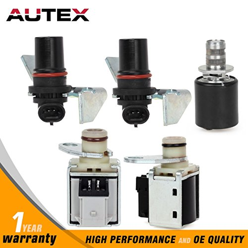 AUTEX 4L80E Compatible With 1994-UP GM Transmission Solenoid 5 Piece Set Input & Output Speed Sensor Kit EPC Shift 24230288 10478147