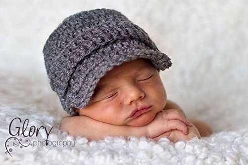 Amazoncom Newborn Crochet Baby Boy Newsboy Hat Infant Photo Prop