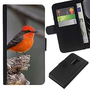 KLONGSHOP // Tirón de la caja Cartera de cuero con ranuras para tarjetas - rojo songbird gris pájaro lindo minúsculo pequeño - LG G2 D800 //