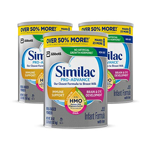 Similac Pro-Advance Non-GMO Infant Formula with Iron, with 2'-FL HMO, for Immune Support, Baby Formula, Powder, 36 oz, 3 Count (One-Month Supply) ()
