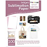 """Sublimation Paper Heat Transfer Paper 100 Sheets 8.5"""" x 11"""" for Any Epson Sawgrass Ricoh Inkjet Printer with Sublimation Ink for DIY T shirt Mugs"""