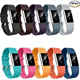 Fitbit Charge 2 Bands, Greeninsync Fitbit Charge 2 Replacement Bands Fitbit Charge 2 Wristband Fitbit HR2 Bracelet Accessories Bands Small Large W/ Secure Fasteners Metal Clasps for Men Women Kids