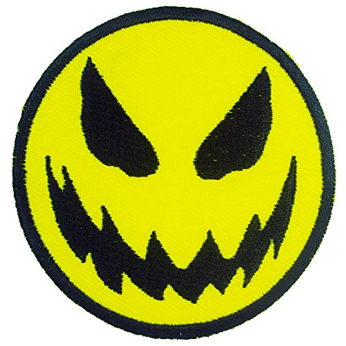 Smiley Face Halloween Iron on Embroidered Patches