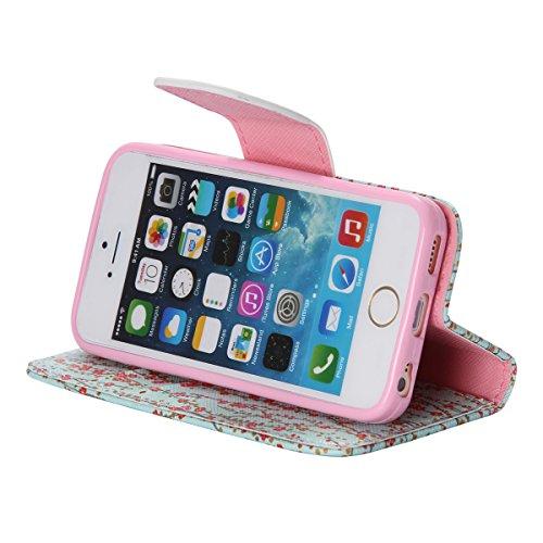 iPhone 5 / 5S Coque , Apple iPhone 5 / 5S Coque Lifetrut® [ Fleurs ] Luxe Premium Portefeuille Flip mignon Coque TPU souple Folio en cuir PU intégré dans la carte Slots Coque Etui pour Apple iPhone 5