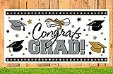 Graduation Party Supplies 2018 Banner - Black/Silver/Gold Grad Congrats Photo Backdrop Decorations Decor
