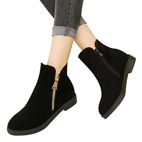 Amazon.com: Women Fashion Solid Ankle High Booties, Flock Zipper Martin Boots Round Winter Warm Fur Toe Boots above knee ankle fancy across black after ...