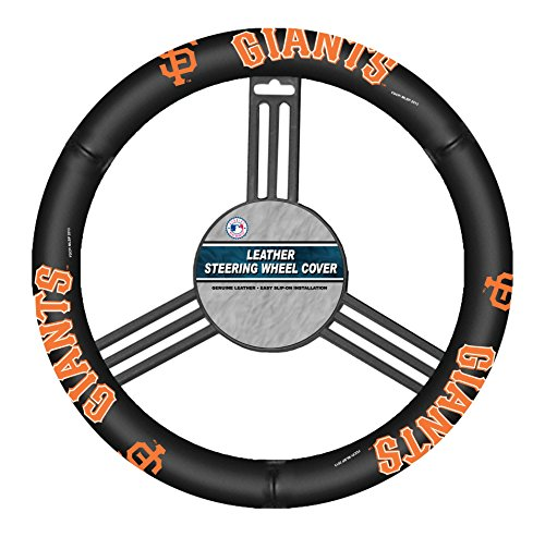 Fremont Die MLB San Francisco Giants Leather Steering Wheel Cover, One Size, Black