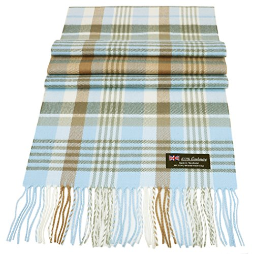 Rosemarie Collections 100% Cashmere Winter Scarf Made In Scotland (Mocha Sky Plaid)