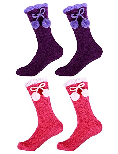Women's Super Soft Warm Fuzzy Flush Non-Skid Chenille Mid-Calf Socks - Assortment 01 - 4 prs