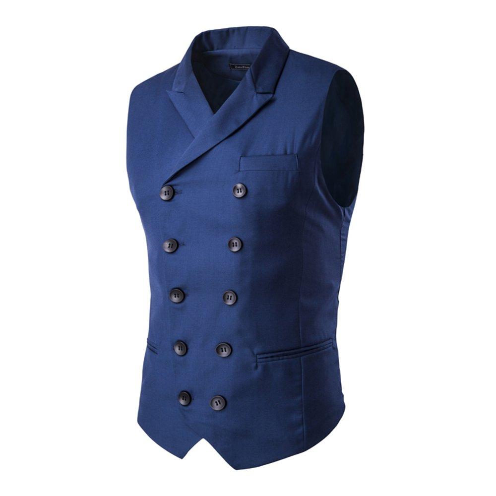 MAGE MALE Men's Suit Vest Designer Solid V-Neck Double Breasted Lapel Slim Fit Business Dress Waistcoat (3XL, Blue)