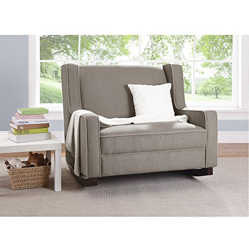 Baby Relax Double Rocking Chair Grey Upholstered Couch For Nursery Living Room Furniture