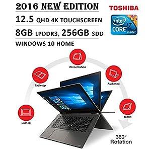 "2016 Toshiba Radius Flagship Premium High Performance 12.5"" 4K 3840 x 2160 UHD Touch-screen Flip Convertible Laptop, Intel Core i7 Processor 2.5 GHz, 8GB Memory, 256GB SSD, No DVD, Windows 10"