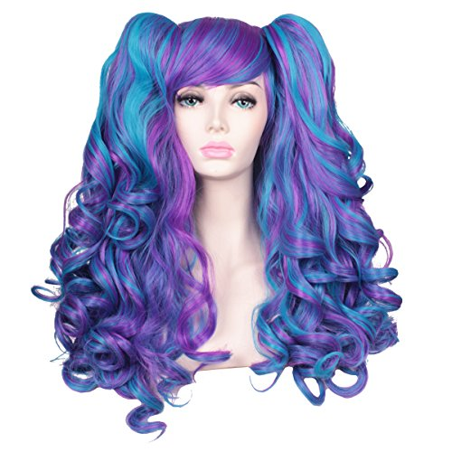 ColorGround Long Curly Lolita Cosplay Wig with 2 Ponytails(Blue/Purple) (Purple Pigtail Wig)