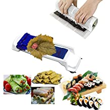 Sushi Maker Machine Kit Includes 1 x Sushi Mat, 1 x Dolma Sarma Roller/Vegetable Meat Roller/Stuffed Grape Leaves Cabbage Rolling Tool for Beginners and Children