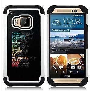 For HTC ONE M9 - Life Love Work Positive Motivational Quote Think /[Hybrid 3 en 1 Impacto resistente a prueba de golpes de protecci????n] de silicona y pl????stico Def/ - Super Marley Shop -