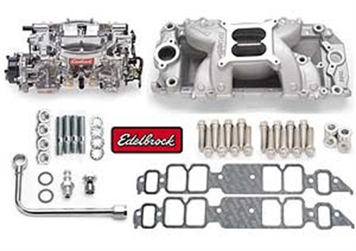 Edelbrock 2075 Single-Quad Manifold And Carb Kit For RPM Air-Gap Manifold w/Thunder Series AVS 800 cfm Carb Incl. Manifold/Carb/Fuel Line/Intake Bolts/Gaskets Satin Finish Single-Quad Manifold And Carb (800 Cfm Avs Carburetor)