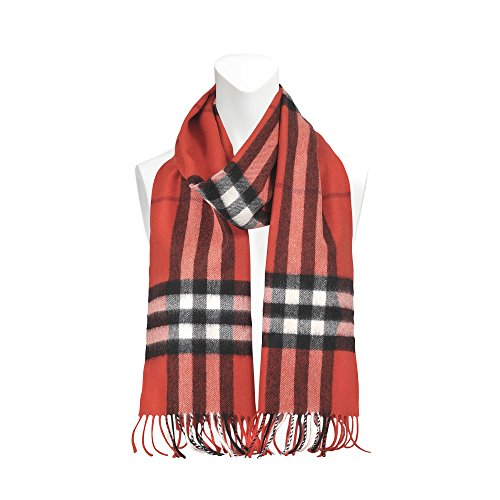 Burberry Unisex Classic Check Cashmere Scarf Red by BURBERRY