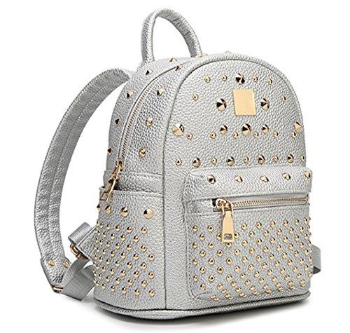 Keshi Pu Niedlich Damen accessories hohe Qualität Einfache Tasche Schultertasche Freizeitrucksack Tasche Rucksäcke Silber YLxsfggDFL