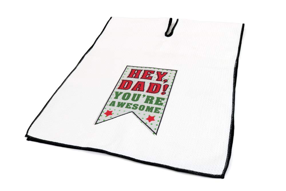 Center Cut Microfiber Golf Towel 16''x40'' (Hey Dad! You're Awesome) by Clothlete