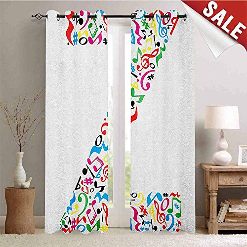Hengshu Letter Z Room Darkening Wide Curtains Collection of Vibrant Musical Signs and Notes in Shape of Capital Z Alphabet Font Waterproof Window Curtain W84 x L84 Inch Multicolor