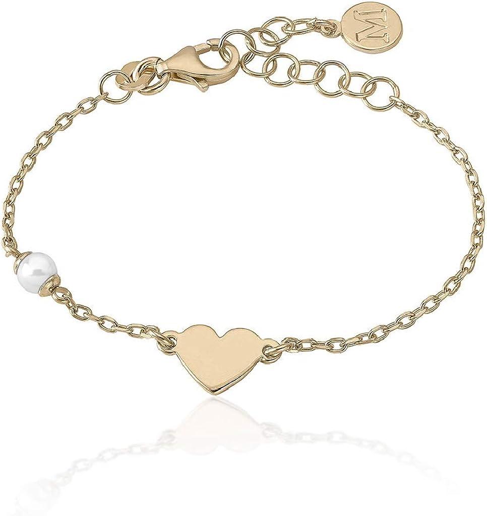 Majorica 16391.01.1.000.010.1 Pulsera Niña Plata Perla Corazón Medida 13/16 cm