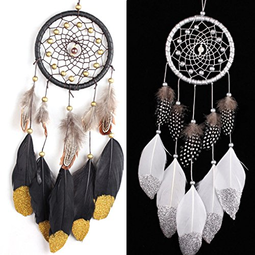 otgo-handmade-simple-dream-catcher-feather-wall-hanging-decoration-ornament-golden