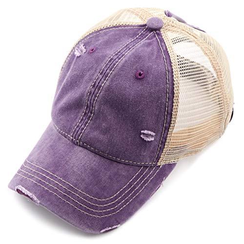 C.C Hatsandscarf Exclusives Washed Distressed Cotton Denim Ponytail Hat Adjustable Baseball Cap (BT-12) (Violet) -
