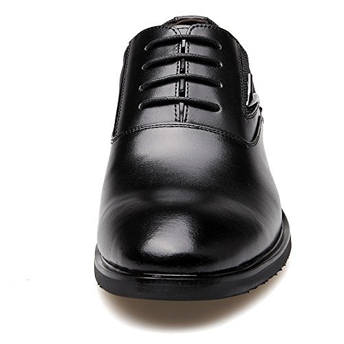 ZhaoDao158 Men's Big Size Lace-Up Leather Patchwork Casual Pointed Dress Oxfords Shoes