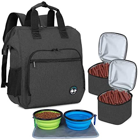 Teamoy Dog Travel Backpack, Pet Supplies Bag Tote with 2 Silicone Collapsible Bowls, 2 Food Carrier, 1 Water-Resistant Placemat