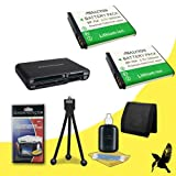 Two Halcyon 1200 mAH Lithium Ion Replacement BP-70A Battery + Memory Card Wallet + Multi Card USB Reader + Deluxe Starter Kit for Samsung DV150F Dual-View Smart Digital Camera and Samsung BP-70A