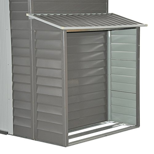 Outsunny 10' x 5' Metal Outdoor Garden Storage Shed w/ Firewood and Side Storage - Gray/White by Outsunny (Image #4)