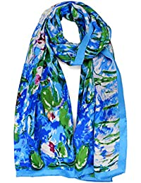 Women 100% Silk Art Collection Scarves Long Shawl Hand Rolled Edge