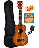 Kala KA-15S Mahogany Soprano Ukulele Bundle with Gig Bag, Tuner, Austin Bazaar Instructional DVD, and Polishing Cloth