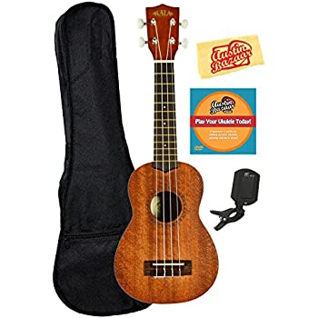 Kala KA-15S Mahogany Soprano Ukulele Bundle with Gig Bag, Austin Bazaar Instructional DVD, Clip-On Tuner, and Polishing Cloth