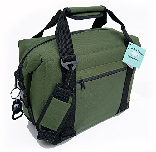 Polar Bear Coolers - Nylon Line - Quality Like No Other from The Brand You Can Trust - See Touch & Feel The Polar Bear Difference - Patent Pending - 12 Pack Green