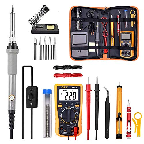 Soldering Iron Kit Electronics, Rarlight 60W Adjustable Temperature Welding Tool, Digital Multimeter, Soldering Iron Tips,Desoldering Pump,Screwdriver,Solder Wire,Tweezers,Stand,Wire Stripper Cutter