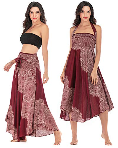 Skirt Gypsy Printed - Salamola Women's Long Hippie Bohemian Skirt Gypsy Dress Bohemian 2 in 1 Printed Beach Dress Skirt Cover Up Female Bikini Wrap (Wine Red)