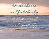 Inspirational Quote Print, Mindfulness Art, Smell the Sea Feel the Sky Let Soul and Spirit Fly Quote Photography Print, Relaxing Motivational Decor, Beach Photography