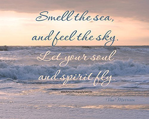 Inspirational Quote Print, Mindfulness Art, Smell the Sea Feel the Sky Let Soul and Spirit Fly Quote Photography Print, Relaxing Motivational Decor, Beach Photography by Natural Photography Spa