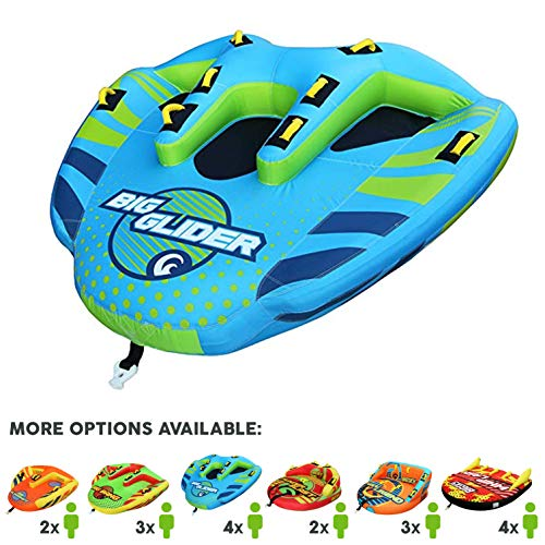 Big Sky Big Glider Towable, Inflatable Water Tube for 4, Boating Tube for Lake, Beach, River, Snow. Watersports Towables has Dual Boston Valve for Quick Inflation, Deflation - 4 Man Toys & Floats