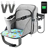 Diaper Bag Travel Backpack Baby Nappy Changing Bag with Baby Seat, Ceekii Multi-Function Waterproof Maternity Nappy Bags and Built-in USB Charging Port (Grey)