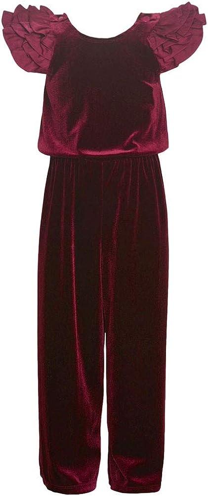 Bonnie Jean Little Girls Burgundy Multi Layered Ruffle Sleeved Jumpsuit 4-6X