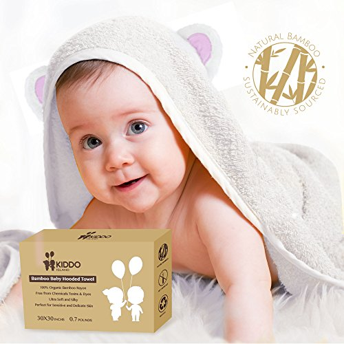 New York Baby Gown (Super Soft Baby Organic Bamboo Fibers Hooded Towel | Absorbent, Hypoallergenic, Antibacteria & Free from Chemicals | Keeps Baby Dry and Warm | Sized for Infant and Toddler (30