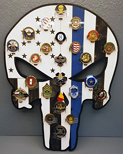Punisher Thin Blue Line Challenge Coin holder - wall mounted ()