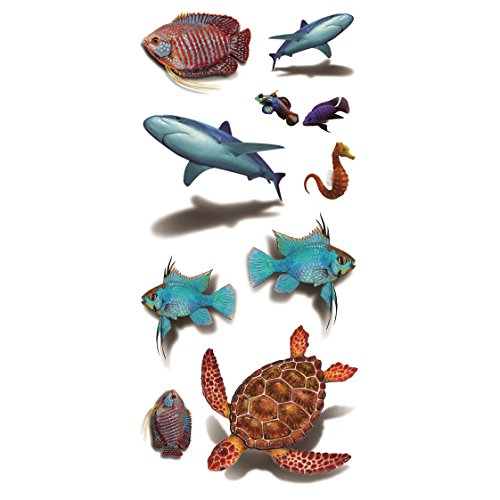 Oottati 3D Beach Sea Marine Animal - Underwater World Shark Turtle Hippocampus Fish Hand Temporary Tattoo (2 Sheets)