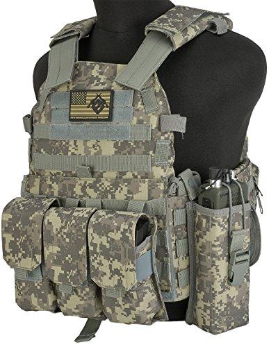 Evike - Avengers Airsoft Tactical Vest 6D9T4A w/Magazine & Radio Pouches - ACU ()
